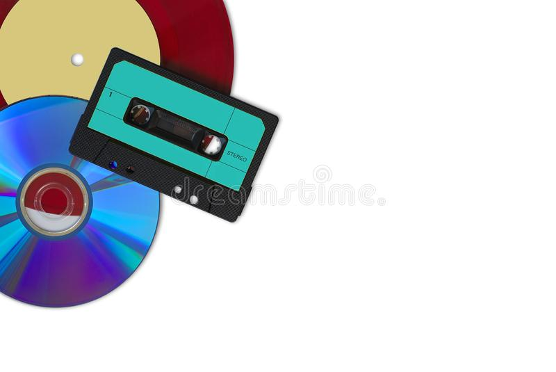 CD, red vinyl and audio tape. On white background royalty free stock photo
