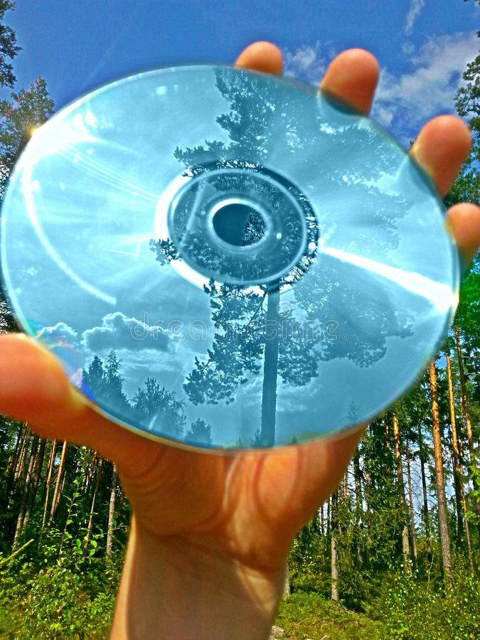 CD and reflections stock photo