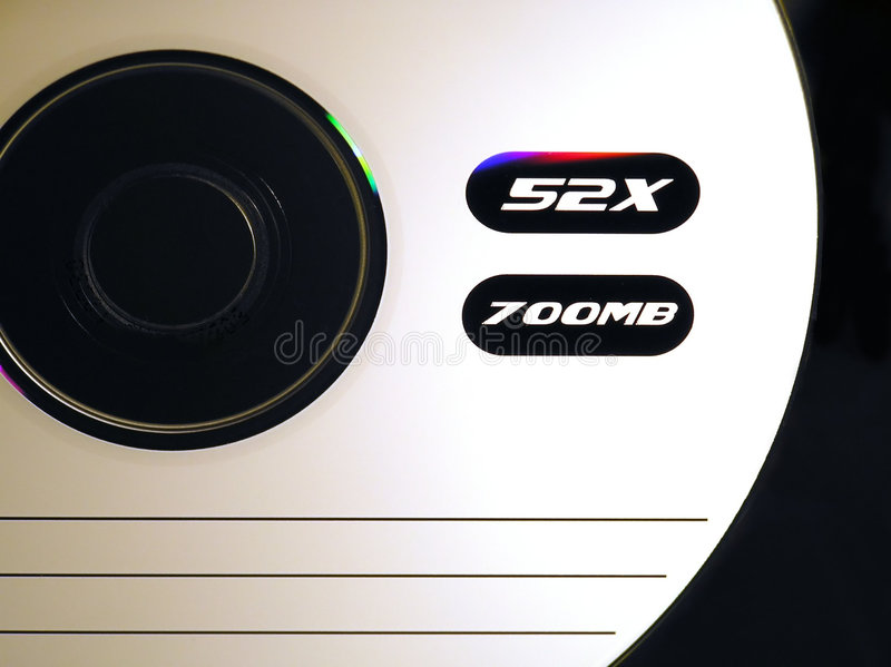 Cd-rom. Close-up of a cd-rom with writing area and lines stock photography