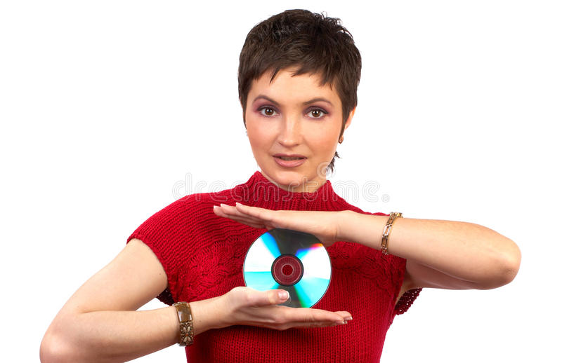 Download CD-ROM stock photo. Image of lady, smile, white, disc - 9599294