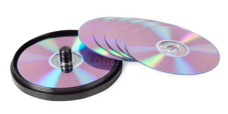 CD-ROM with a pen. Isolated on white background royalty free stock image