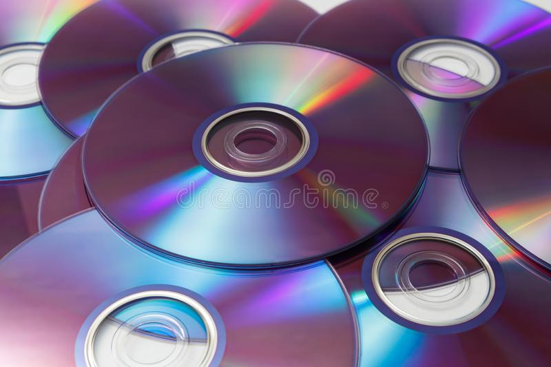 Cd`s , dvd`s isolated on white backgrounds stock images