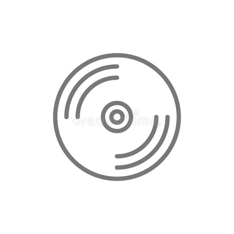 CD schijf, DVD-lijnpictogram stock illustratie