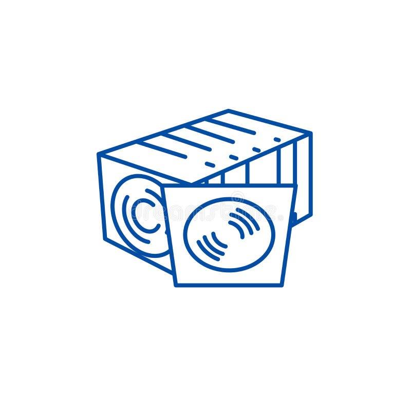 CD-schijfinzameling, het vinylconcept van het lijnpictogram CD-schijfinzameling, vinyl vlak vectorsymbool, teken, overzichtsillus stock illustratie