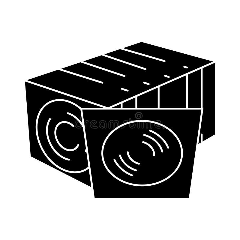 CD-schijfinzameling - vinylpictogram, vectorillustratie, zwart teken op geïsoleerde achtergrond royalty-vrije illustratie