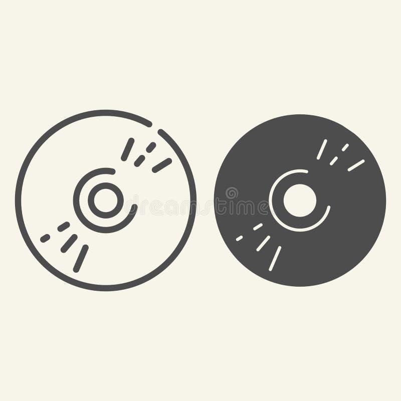 CD schijflijn en glyph pictogram Gegevens vectordieillustratie op wit wordt geïsoleerd De stijlontwerp van het Dvdoverzicht, voor stock illustratie