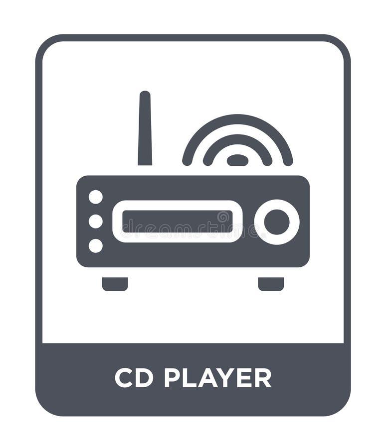 CD-spelerpictogram in in ontwerpstijl CD-spelerpictogram op witte achtergrond wordt geïsoleerd die CD-eenvoudige en moderne vlakt stock illustratie
