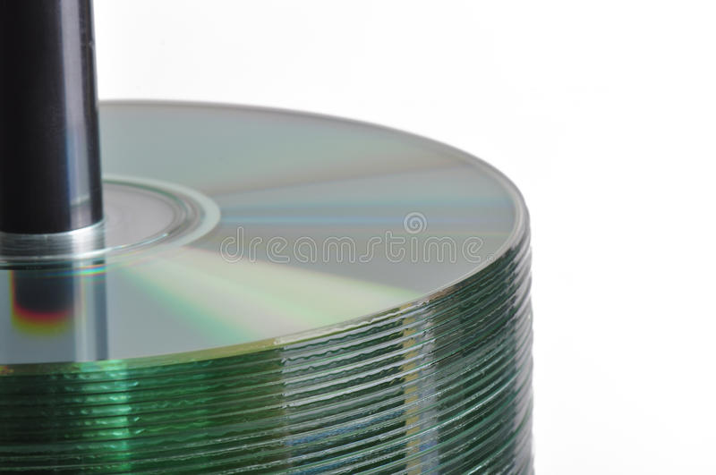 CD Spindle. Spindle of compact discs isolated on white stock image