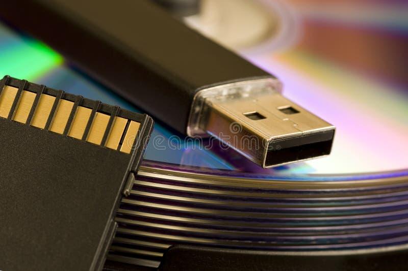 Cd, USB, SD card stock photos