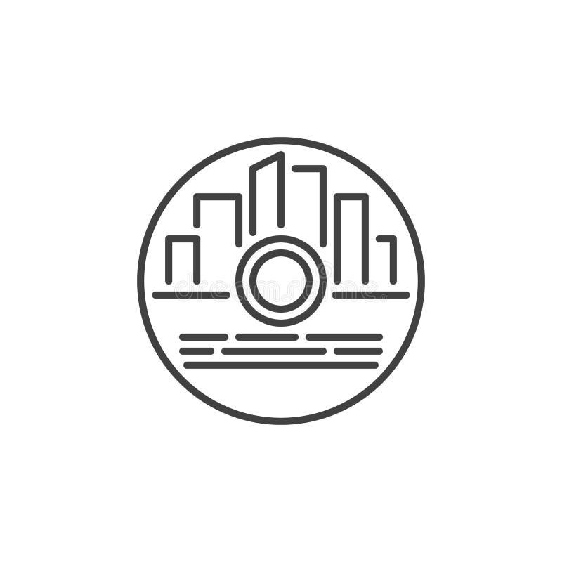 CD z gra wideo wektorowego pojęcia liniową ikoną ilustracja wektor