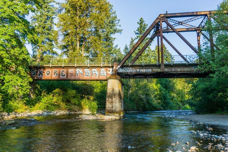 Cdear flod under bro 2 arkivbilder