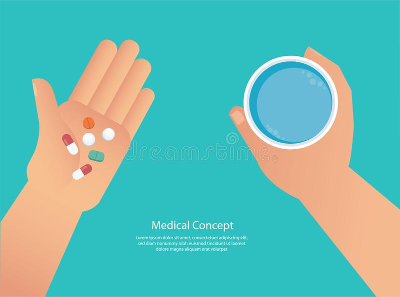Taking the pills concept of medical vector illustration eps10 royalty free illustration