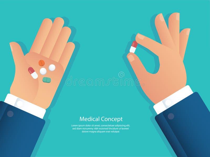 Taking the pills concept of medical vector illustration eps10 stock illustration
