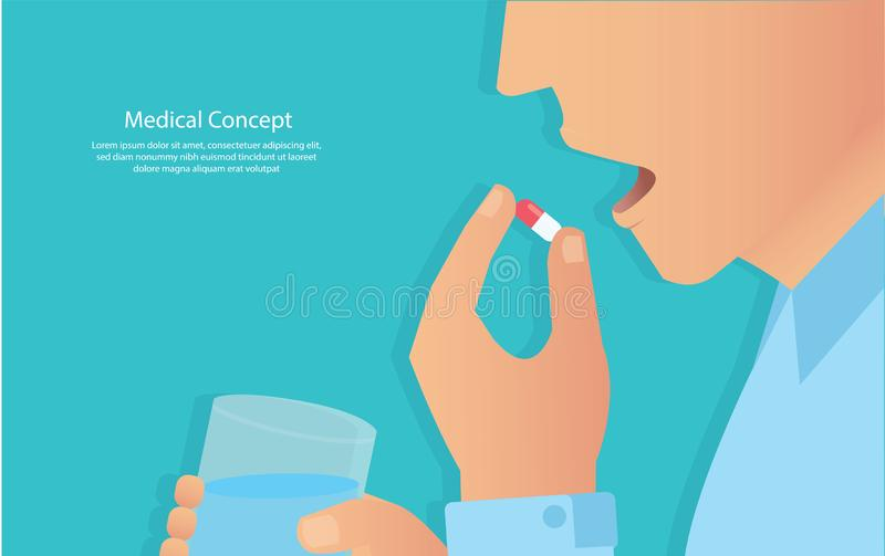 Taking the pills concept of medical vector illustration eps10.  royalty free illustration