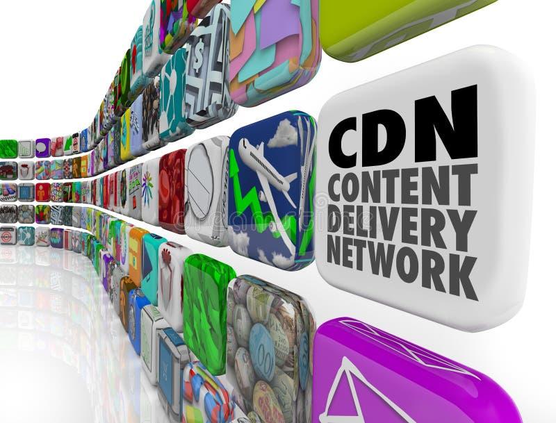 CDN内容交付网络App节目软件网络服务系统 向量例证