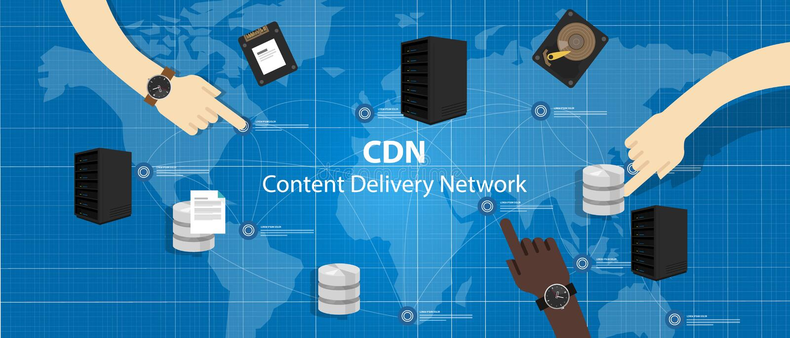 CDN content delivery network distribution file access across server royalty free illustration