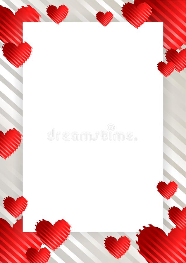 Frame, border with hearts. Frame, border with red hearts on a white background with stripes. Vector illustration for photos, announcements, greetings royalty free illustration