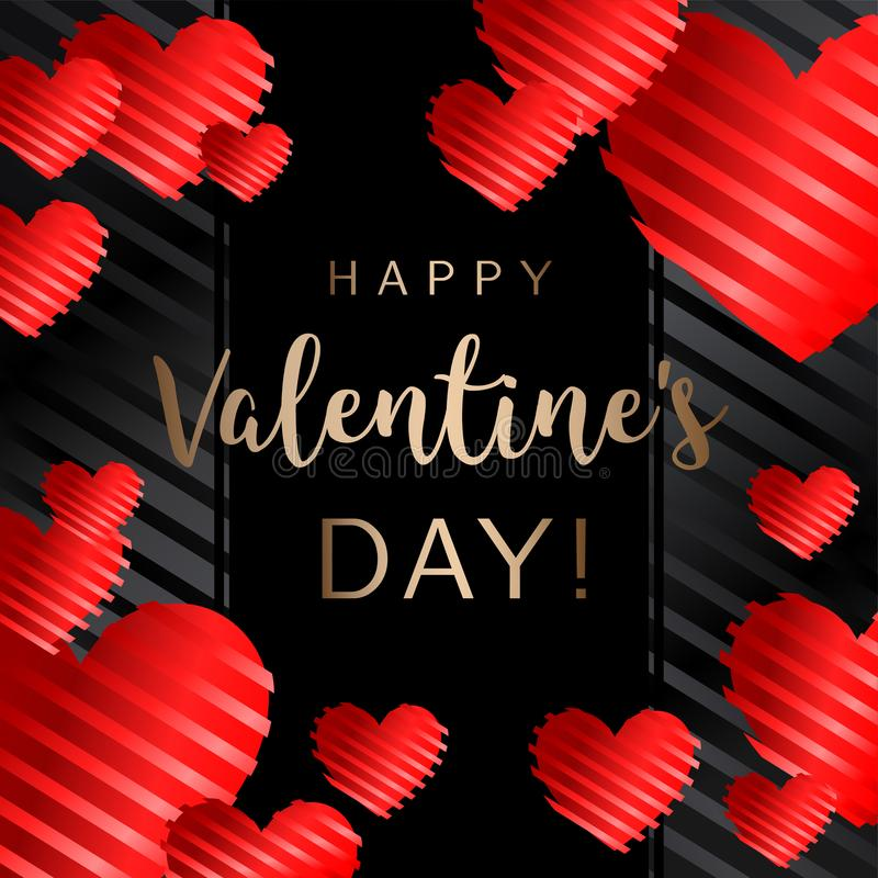 Happy Valentine`s day, inscription with red heart pattern. Vector illustration. Wallpaper, card, wedding, flyers, invitation, posters, brochure or banners stock illustration
