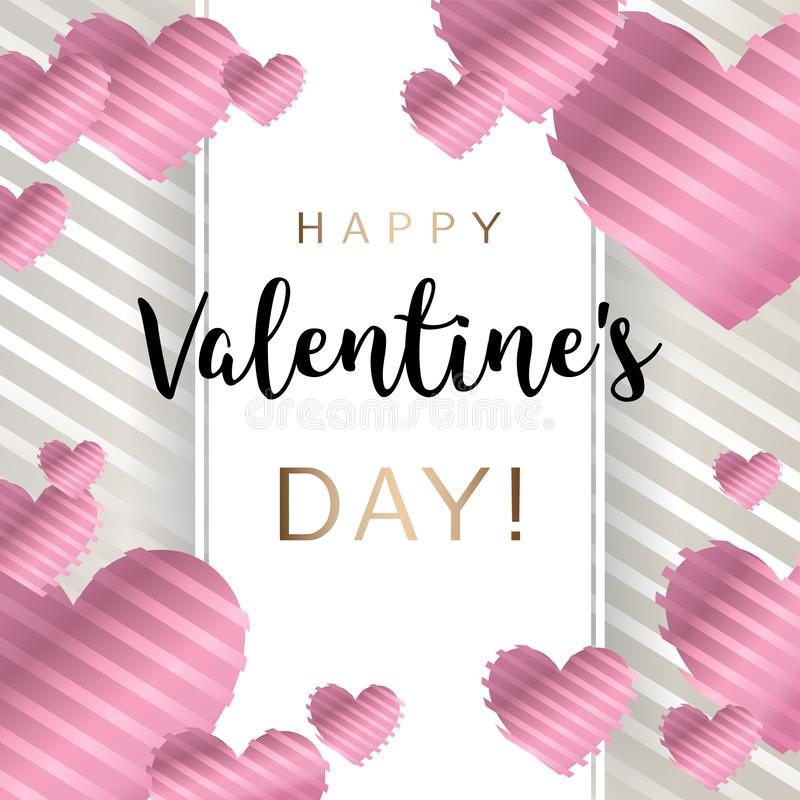 Happy Valentine`s day, inscription with pink heart pattern. Vector illustration. Wallpaper, card, wedding, flyers, invitation, posters, brochure or banners stock illustration