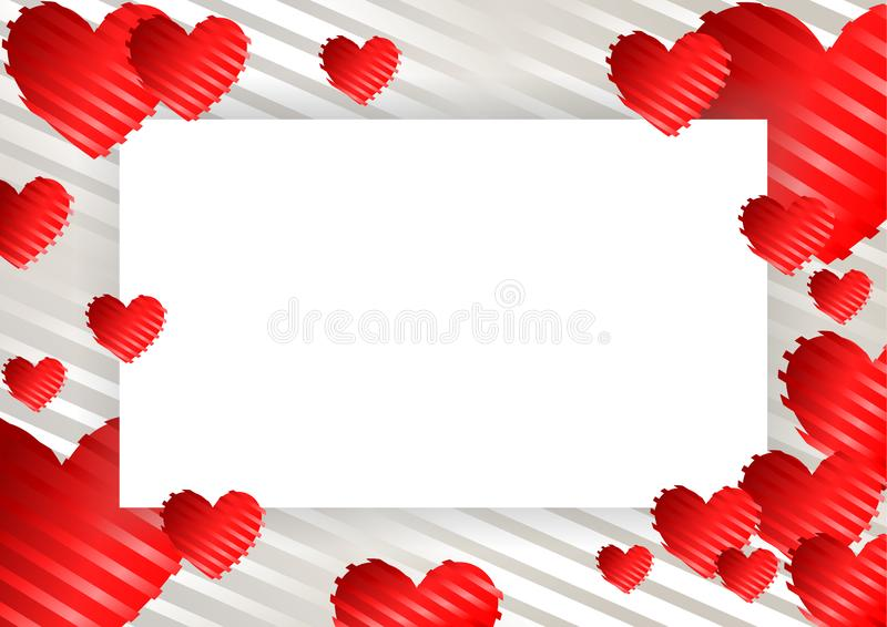 Frame, border with hearts. Frame, border with red hearts on a white background with stripes. Vector illustration for photos, announcements, greetings vector illustration