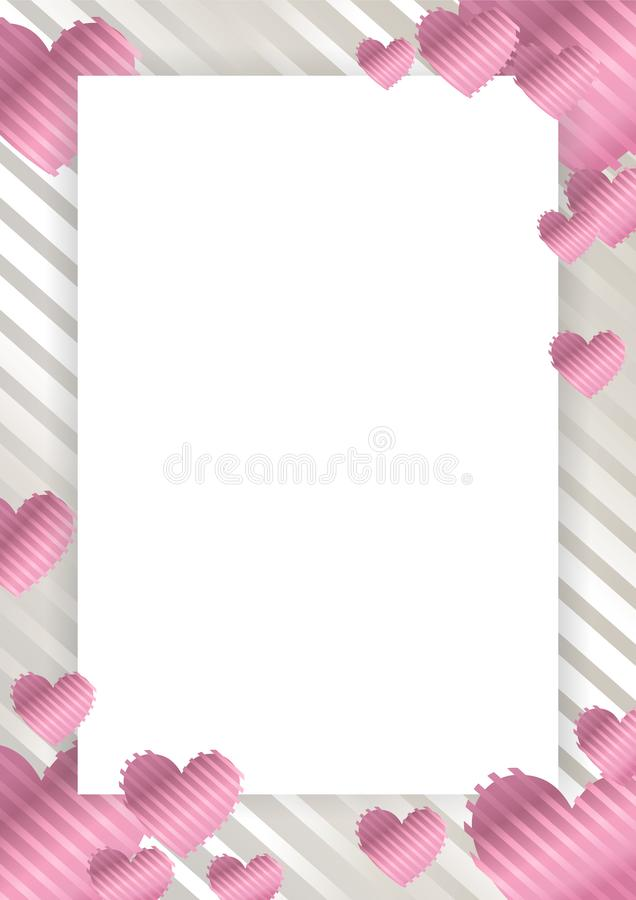 Frame, border with pink hearts on a white background. With stripes. Vector illustration for photos, announcements, greetings, invitations,posters, gift vector illustration