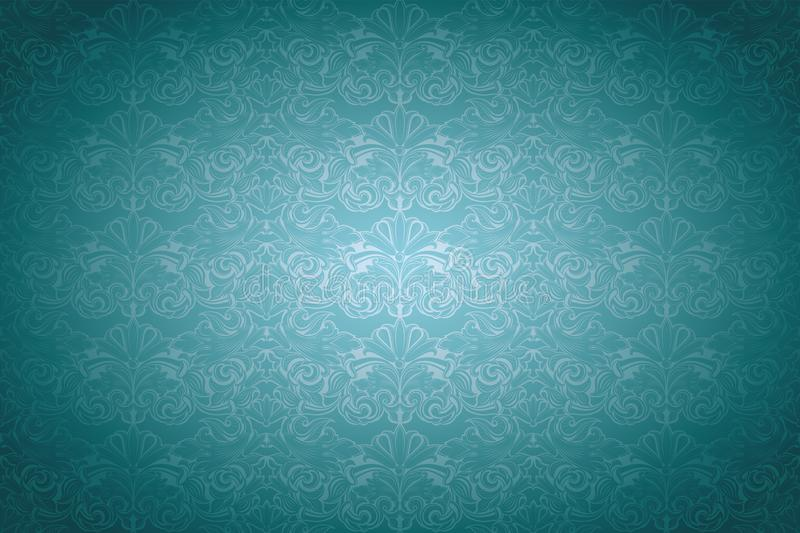 Turquoise,aqua blue vintage background ,royal with classic Baroque pattern, Rococo. With darkened edges backgroundcard, invitation, banner. horizontal format royalty free illustration
