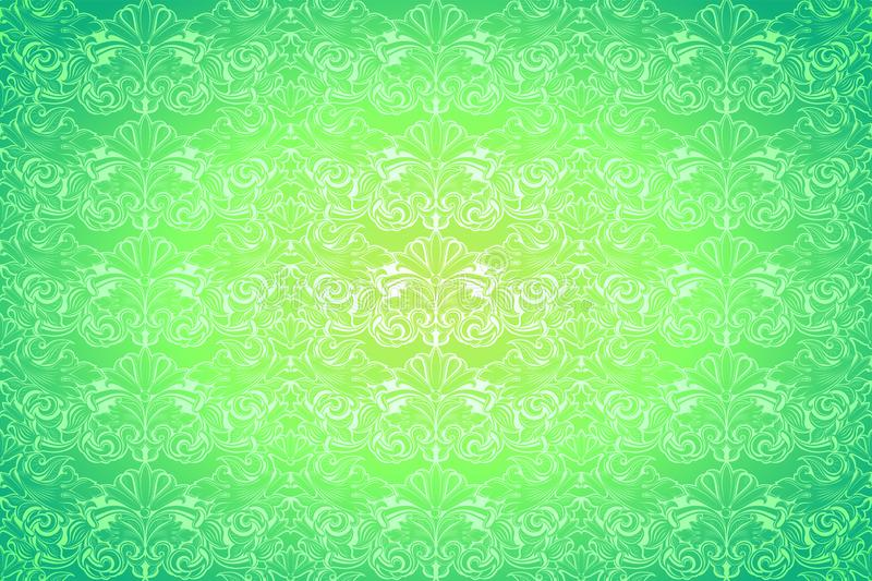 Bright lime, green vintage background ,royal with classic Baroque pattern, Rococo. With darkened edges backgroundcard, invitation, banner. horizontal format stock illustration