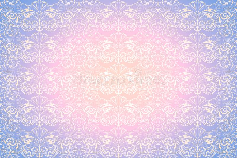 Pastel pink and purple vintage background ,royal with classic Baroque pattern, Rococo. With darkened edges backgroundcard, invitation, banner. horizontal format stock illustration