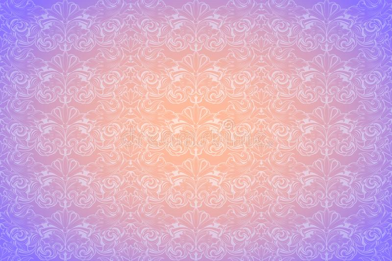 Pastel orange and purple vintage background ,royal with classic Baroque pattern, Rococo. With darkened edges backgroundcard, invitation, banner. horizontal vector illustration