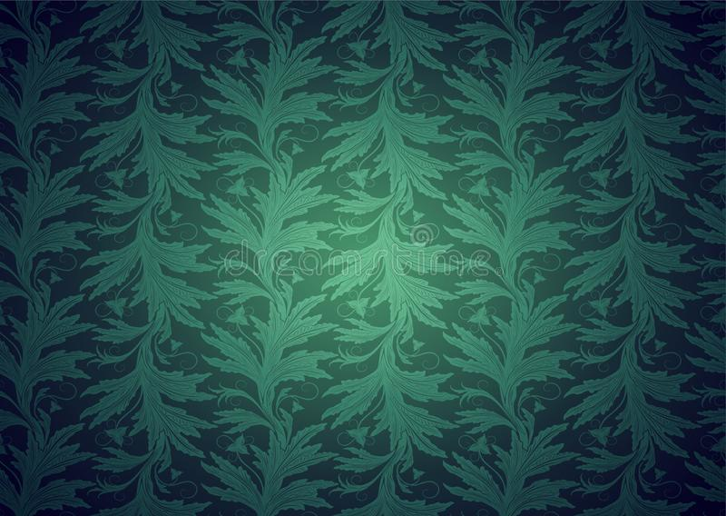 Vintage Gothic, royal background in green with classic floral Baroque pattern. Rococo with darkened edges, vector Eps 10 vector illustration