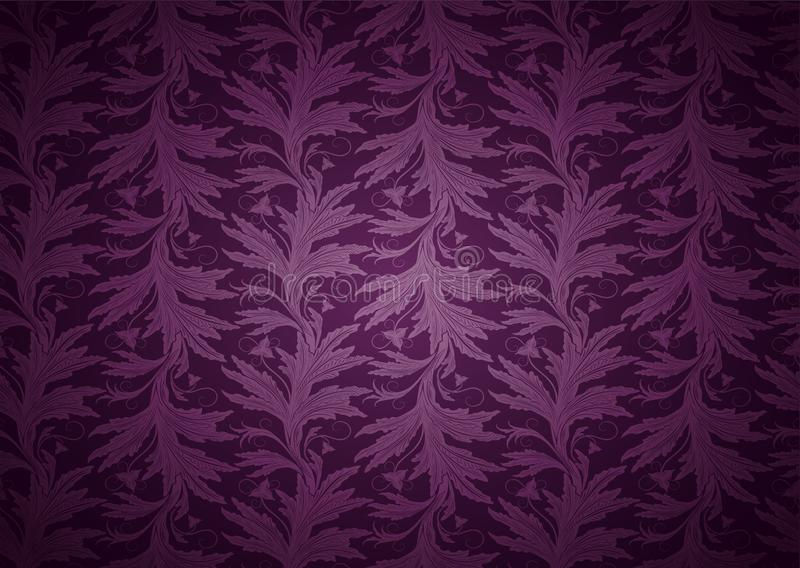 Vintage Gothic background in dark purple, magenta with classic floral Baroque pattern royalty free illustration