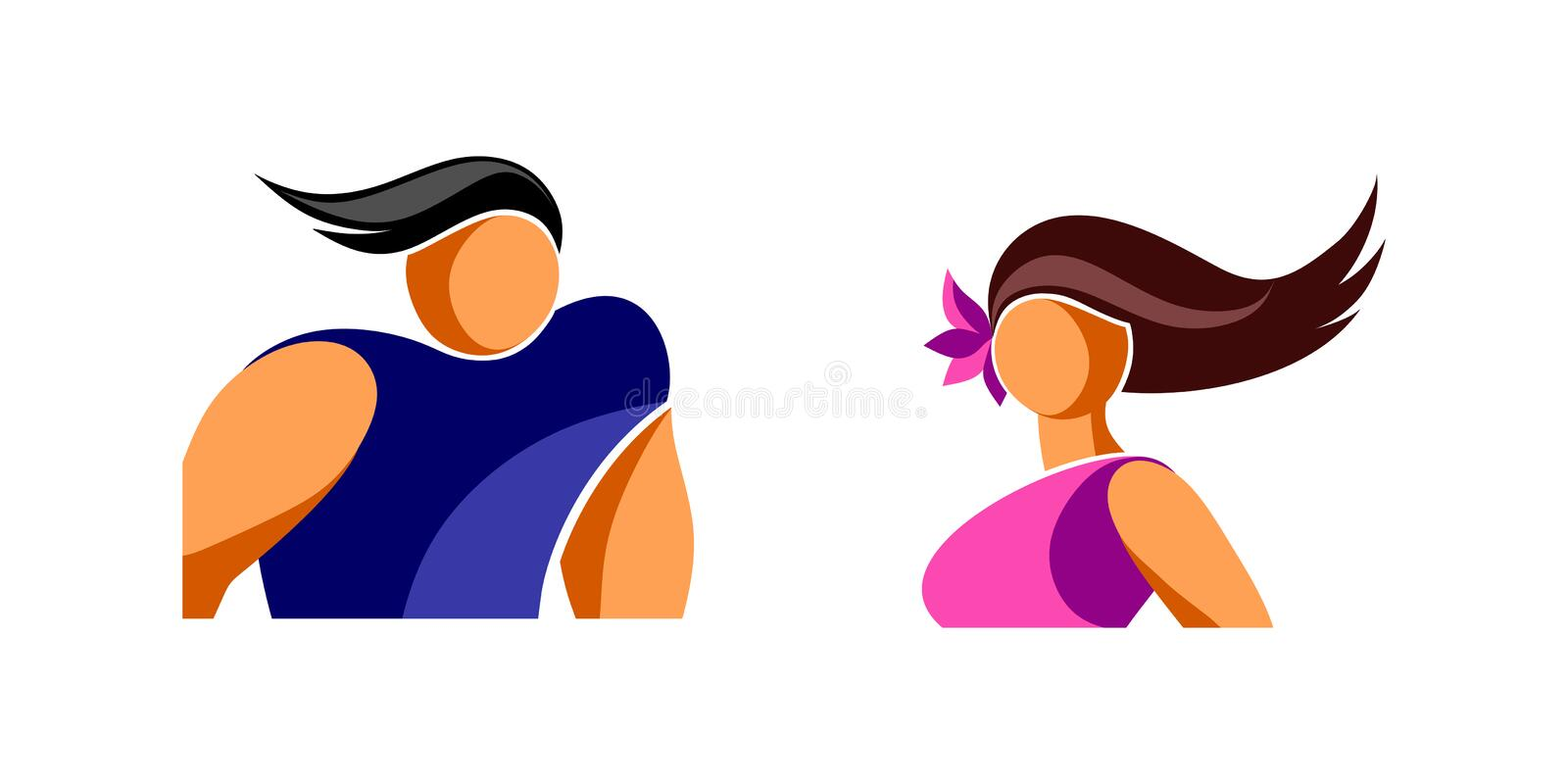 Avatars icons young man and woman. Simplified stylized image. isolated EPS 10 vector royalty free illustration