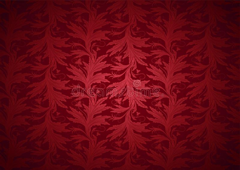 Vintage Gothic,royal background in red with classic floral Baroque pattern. Rococo with darkened edges, vector Eps 10 vector illustration