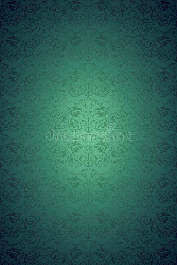 Green vintage background ,royal with classic Baroque pattern, Rococo. Green vintage background , royal with classic Baroque pattern, Rococo with darkened edges stock illustration