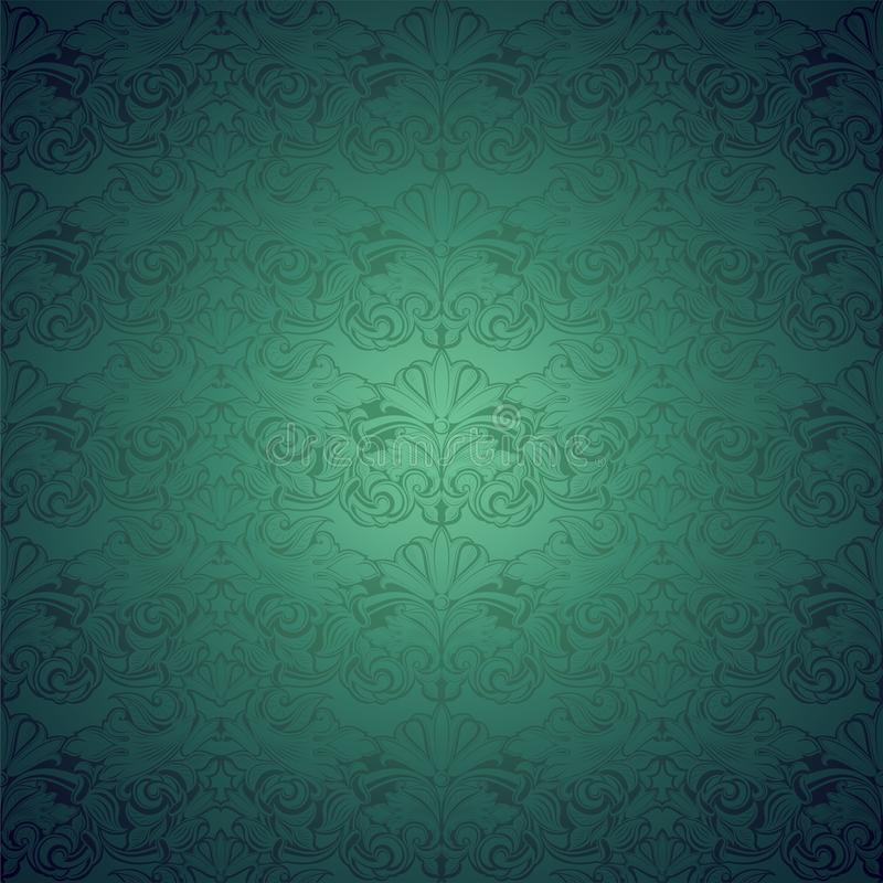 Green vintage background ,royal with classic Baroque pattern, Rococo. With darkened edges background,card, invitation, banner. vector illustration Eps 10 vector illustration