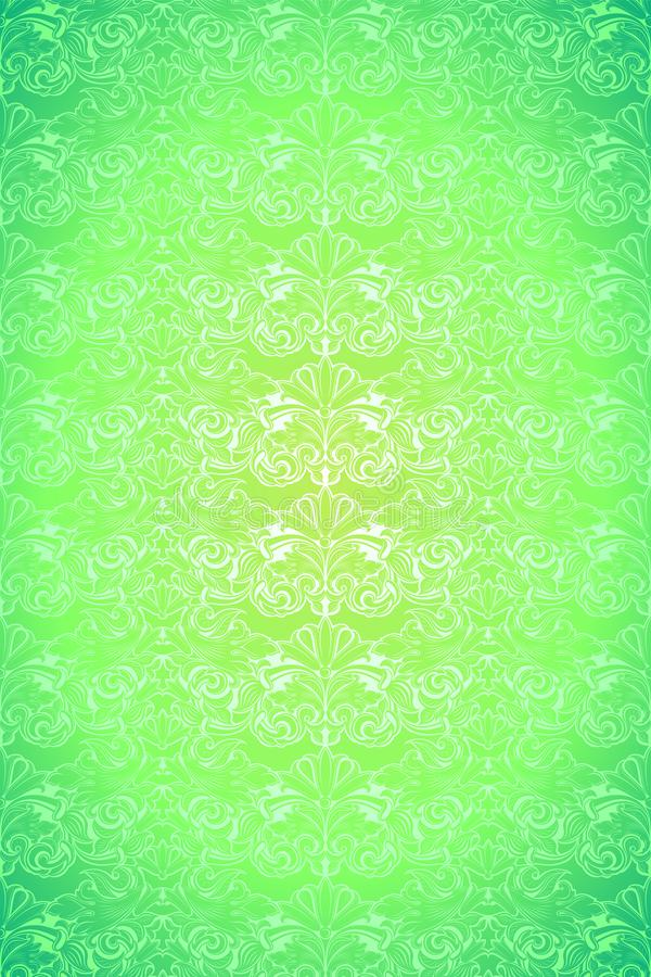 Bright lime, green vintage background, royal with classic Baroque pattern, Rococo. With darkened edges background, card, invitation, banner. vector illustration vector illustration