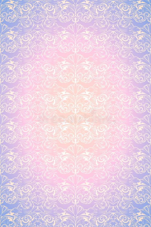 Pastel pink and purple vintage background, royal with classic Baroque pattern, Rococo. With darkened edges background, card, invitation, banner. vector royalty free illustration