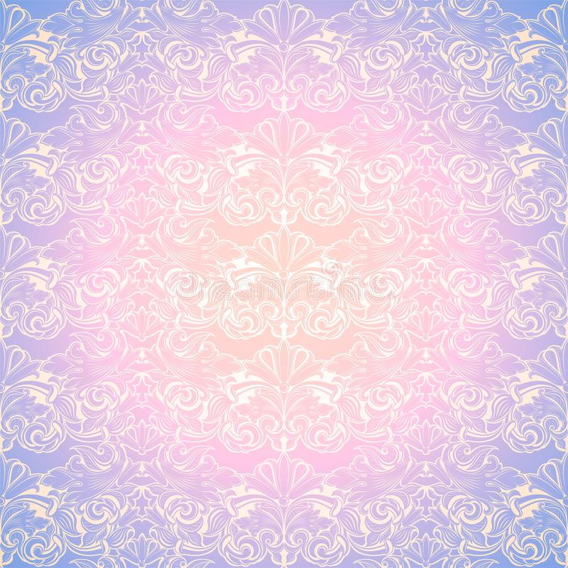 Pastel pink and purple vintage background, royal with classic Baroque pattern, Rococo. With darkened edges background, card, invitation, banner. vector stock illustration