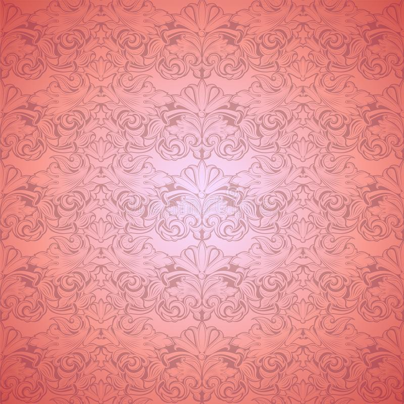 Coral vintage background ,royal with classic Baroque pattern, Rococo. With darkened edges background, card, invitation, banner. vector illustration EPS 10 royalty free illustration