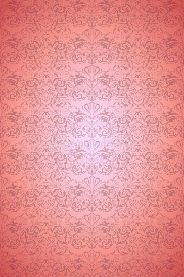 Coral vintage background ,royal with classic Baroque pattern, Rococo. With darkened edges background, card, invitation, banner. vector illustration EPS 10 vector illustration