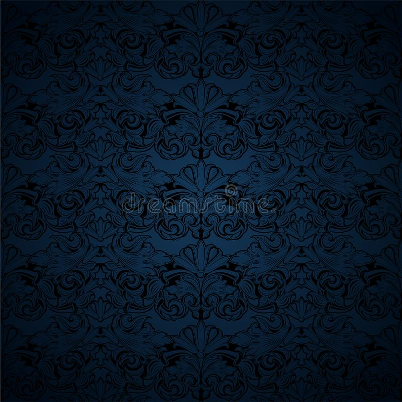 Dark blue and black vintage background, royal with classic Baroque pattern, Rococo. With darkened edges background, card, invitation, banner. vector royalty free illustration