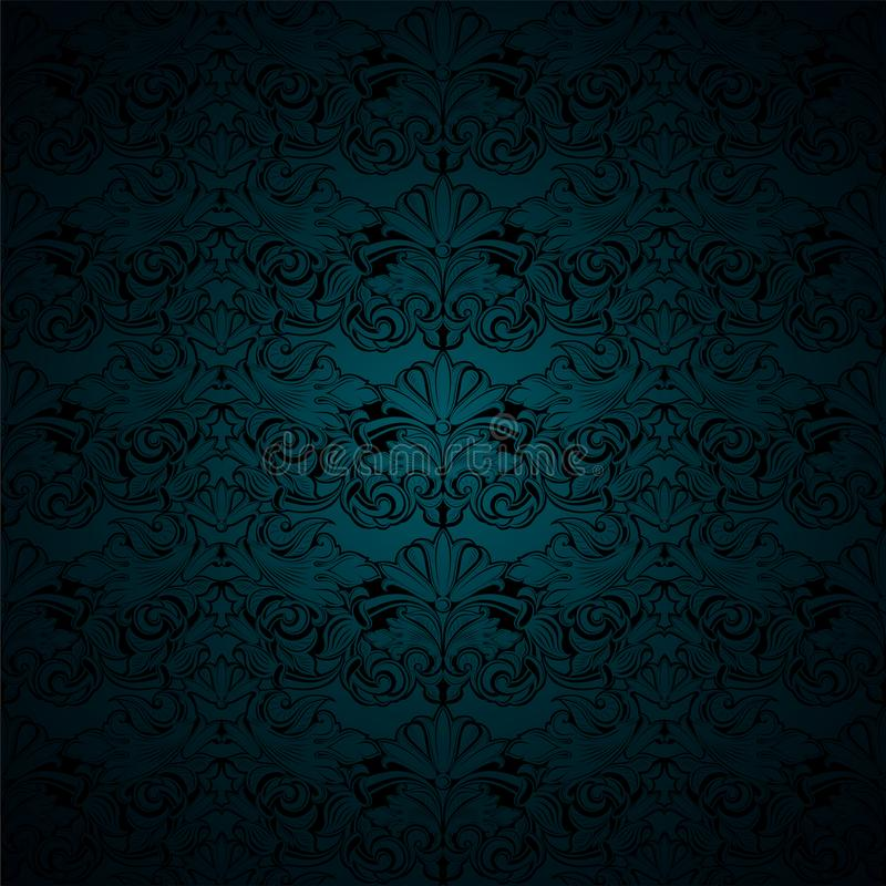 Gloomy malachite green and black vintage background, royal with classic Baroque pattern, Rococo. With darkened edges background, card, invitation, banner stock illustration