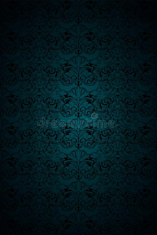 Gloomy malachite green and black vintage background, royal with classic Baroque pattern, Rococo. With darkened edges background, card, invitation, banner vector illustration