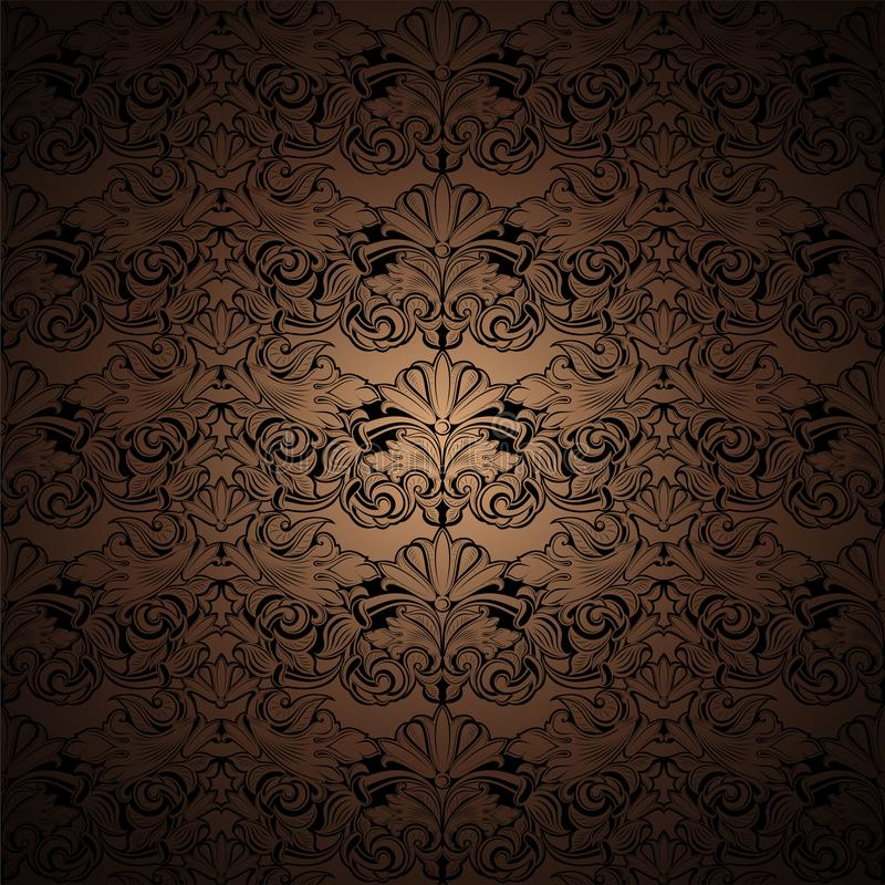 Gold, bronze, caramel, chocolate, and black vintage background, royal with classic Baroque pattern, Rococo. With darkened edges background, card, invitation vector illustration