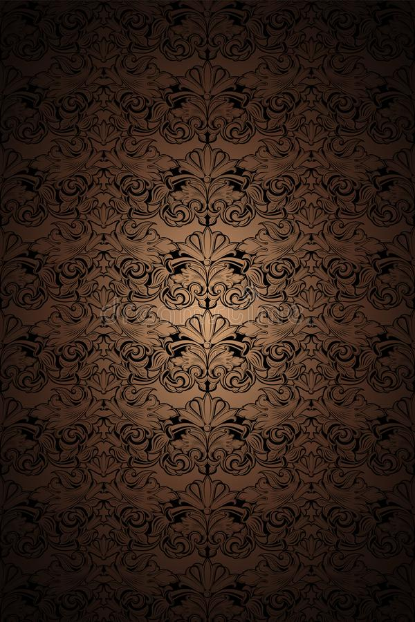 Gold, bronze, caramel, chocolate, and black vintage background, royal with classic Baroque pattern, Rococo. With darkened edges background, card, invitation royalty free illustration