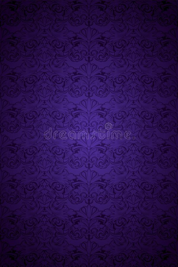 Ultra violet, amethystine vintage background, royal with classic Baroque pattern, Rococo. With darkened edges background, card, invitation, banner. vector royalty free illustration