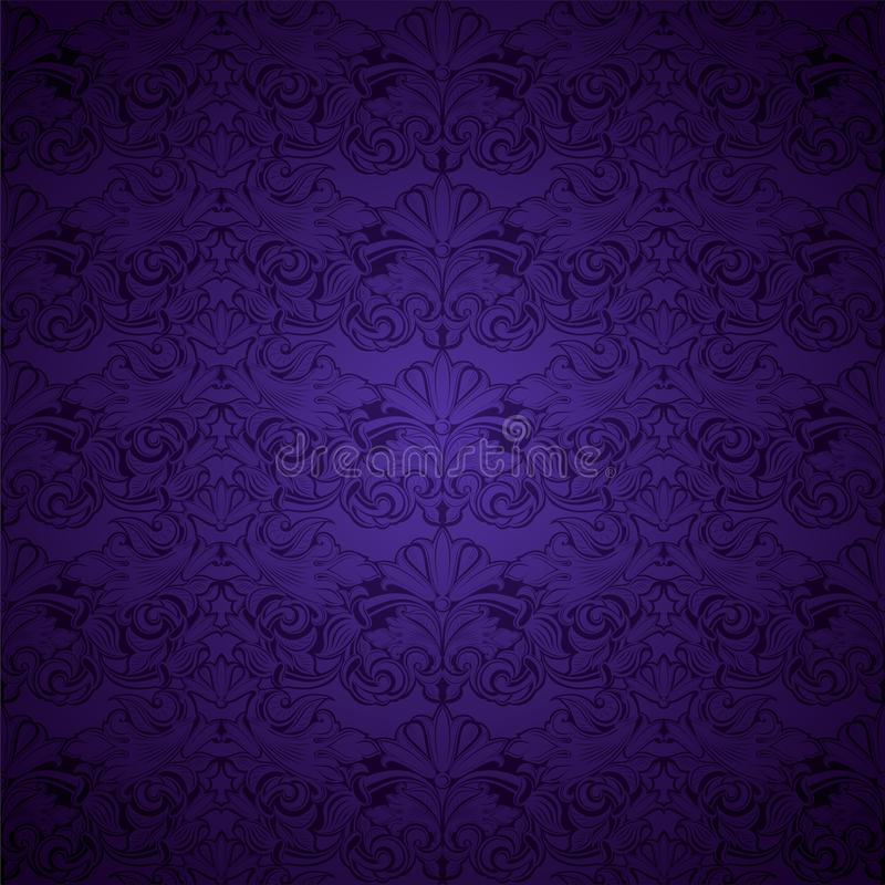 Ultra violet, amethystine vintage background, royal with classic Baroque pattern, Rococo. With darkened edges background, card, invitation, banner. vector vector illustration