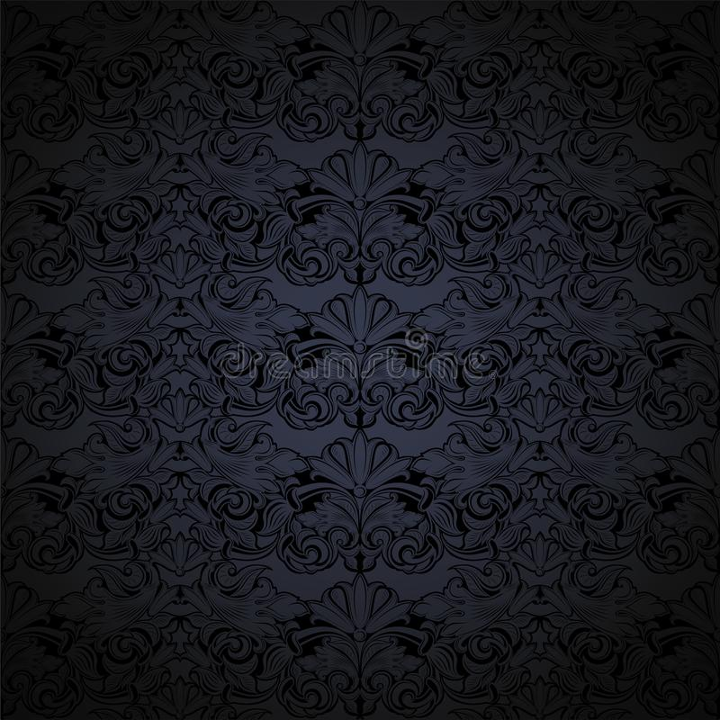 Dark grey and black vintage background, royal with classic Baroque pattern, Rococo. With darkened edges background, card, invitation, banner. vector stock illustration