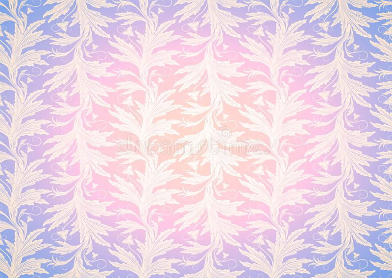 Pastel pink and purple background, royal, vintage with classic floral Baroque pattern, Rococo. With darkened edges. template for card, invitation, banner stock illustration