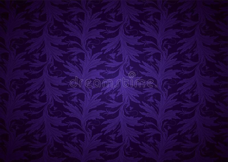 Ultra violet, amethystine background, royal, vintage with classic floral Baroque pattern, Rococo. With darkened edges. template for card, invitation, banner stock illustration